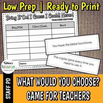 What Would You Choose? for Teachers - Great Icebreaker for PD & Faculty Meetings