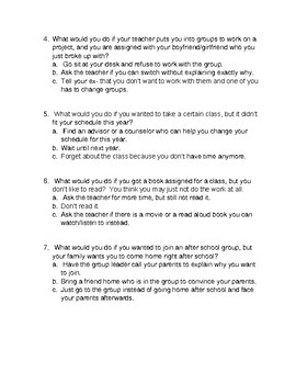 What Would You Do?  Multiple Choice Discussion Social Skills