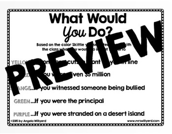 Back to School Ice Breaker - What Would You Do?  - using Skittles