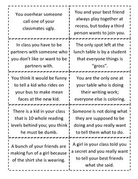 What Would You Do situation flashcards about Disrespect and Friendship