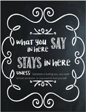 What You Say In Here Stays In Here Counselor's Sign