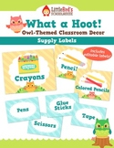 Classroom Supply Labels - Customizable - Owls