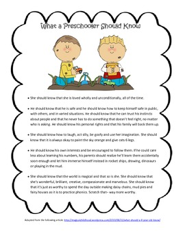 What a Preschooler Should Know Handout FREEBIE