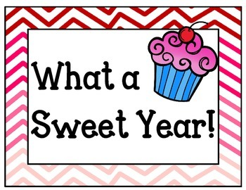 What a Sweet Year! Bulletin Board Set Idea.  End of the Year Board. Cupcakes