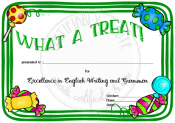 What a Treat! Writing Award