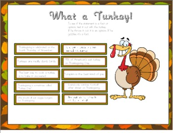What a Turkey! Fact or Opinion for Smart Board