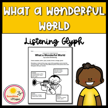 What a Wonderful World Listening Glyph Worksheet Set