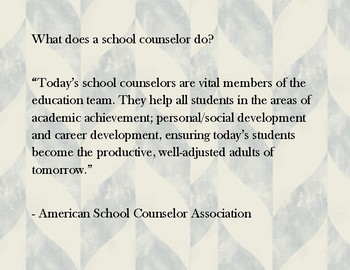 What a school counselor does