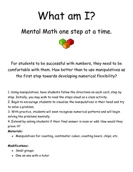 What am I? Mental Math One Step at a Time with Addition!