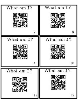 What am I? QR Code 2-D and 3-D Shape activity