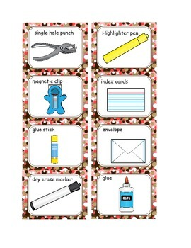 What am I? School Supply Matching Task Cards