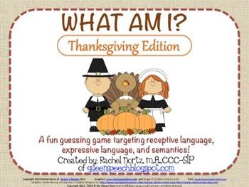 What am I? Thanksgiving Edition {A Describing Game}