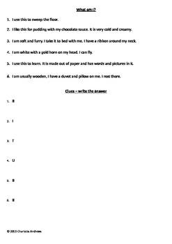 What am I? Worksheet