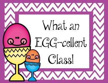 What an EGG-cellent Class! Bulletin Board Set.  Eggs Easter Spring