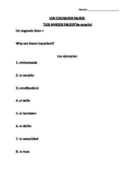 What are Cognates? Notes Sheet