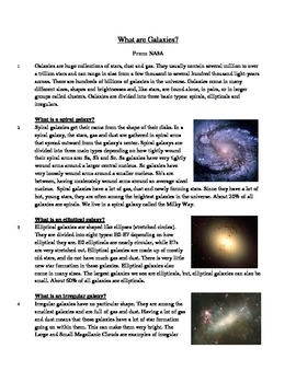 What are Galaxies? - Informational Text Test Prep