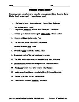 What are Proper Nouns?  A grammar practice page on Proper Nouns.