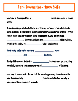 What are Study Skills - Lesson 1 - Guided Notes
