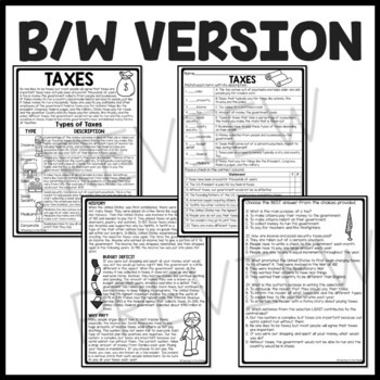 What are Taxes? Reading Comprehension, economics, types of taxes, worksheet