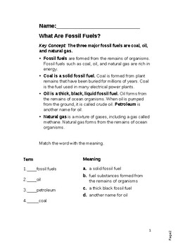 What are fossil fuels worksheet