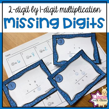 2-digit by 1-digit Multiplication Missing Digits Task Cards