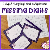 Missing Digits 3-& 4-digit by 1-digit Multiplication Task Cards