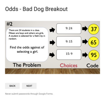 What are the odds?  – Bad Dog Breakout for Google Classroom!