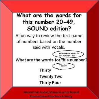 What are the words for this number? 20-49 VOCAL PROMTS ONLY Promethean Board