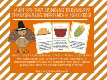 What are they bringing to dinner?? Thanksgiving Inference Flash Cards!
