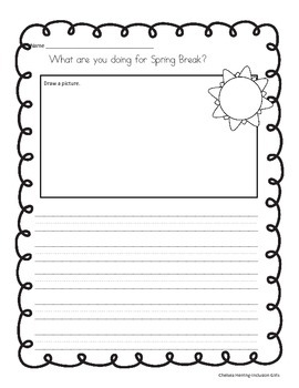 What are you doing for Spring Break? {FREEBIE WRITING PROMPT}