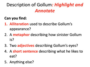 What can I infer about Gollum?