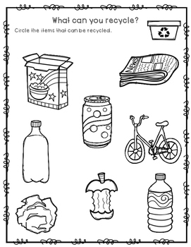 What can you recycle worksheet {FREEBIE}