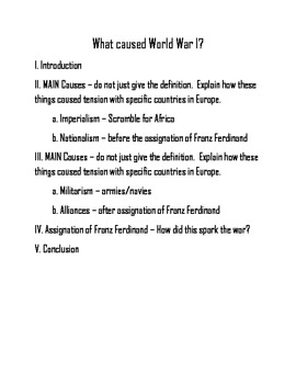 what caused wwi five paragraph essay outline by mandy west tpt five paragraph essay outline
