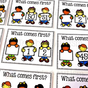 What comes first? 0 - 100 task cards, counting.