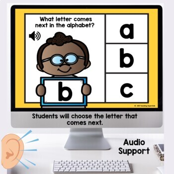 What comes next Alphabet Practice Digital Task Cards Boom