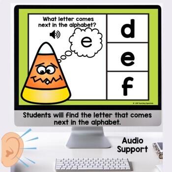What comes next Alphabet Practice Digital Task Cards Boom