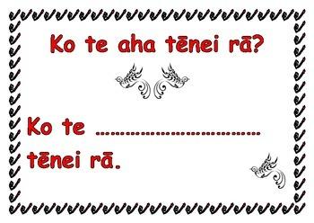 What day is it? In Te Reo Maori chart