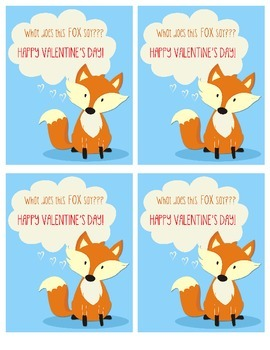 What did the Fox Say Valentine Printable