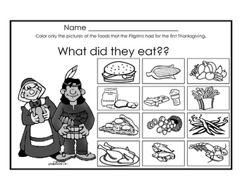 What did the eat on the 1st Thanksgiving worksheet