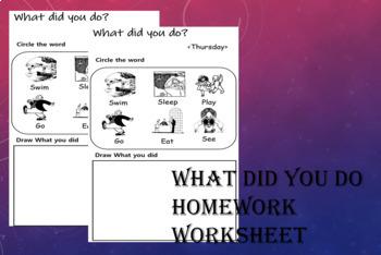 What did you do? Homework worksheet