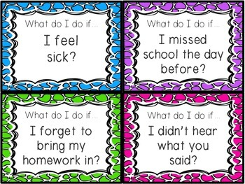 What do I do if...?? Beginning of the Year Game for Routines and Procedures