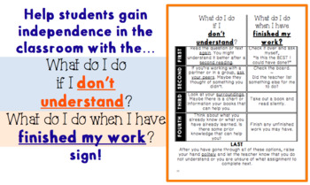 What do I do if I don't understand / finished my work - Reference Sign