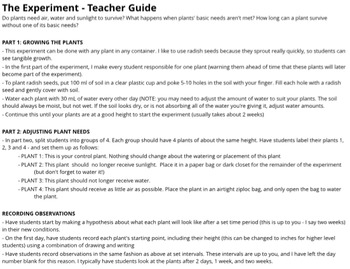 What do plants need? Experiment with teacher guide