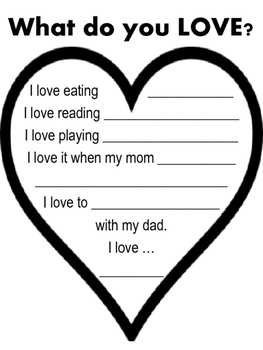 What do you LOVE? writing activity - Valentine's Day