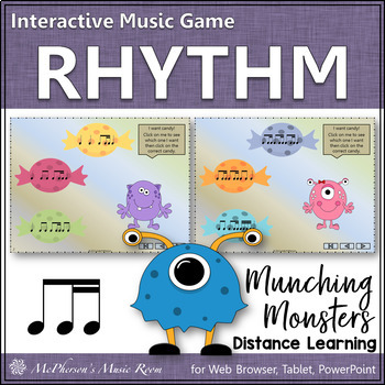 1 eighth/2 sixteenths - Munching Monsters -  Interactive Rhythm Game