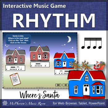Christmas Music: Sixteenth Notes Interactive Rhythm Game {Where's Santa?}
