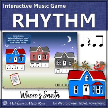 Christmas Music: Eighth Notes Interactive Rhythm Game {Where's Santa?}
