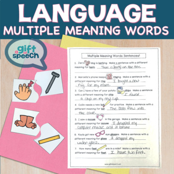 Multiple Meaning Words (Homonyms) & Speech Therapy