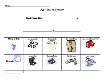 What do you wear in the summer Spanish worksheet for 1st-3rd grades