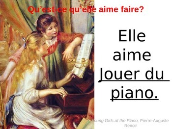 What does he/she like to do? French Power Point using FINE ART